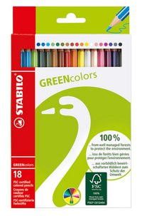 Набор цветных карандашей greencolors, 18 штук, STABILO