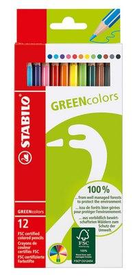 Набор цветных карандашей greencolors, 12 штук, STABILO