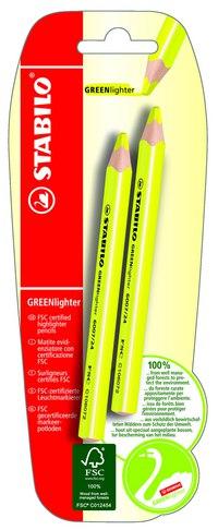 Текстовыделитель сухой greenlighter (2 желтых), STABILO