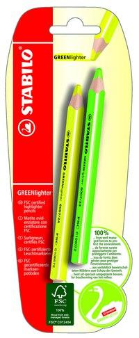 Текстовыделитель сухой greenlighter (желтый, зеленый), STABILO