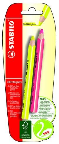 Текстовыделитель сухой greenlighter (желтый, розовый), STABILO