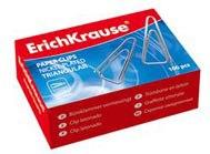 Скрепки никелированные, треугольные, 25 мм, 100 штук, ErichKrause