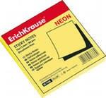 Бумага с клеевым краем 75х75 мм, неон жёлтая, ErichKrause