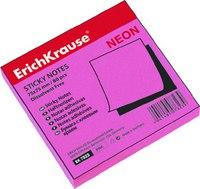 Бумага с клеевым краем 75х75 мм, неон розовая, ErichKrause