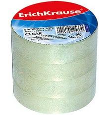 """Клейкая лента """"clear"""" 18 мм х 33 м, 4 штуки, ErichKrause"""