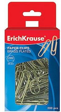 Скрепки омедненные, 28 мм, 200 штук, в коробке, ErichKrause