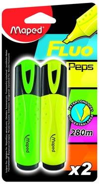 Маркер текстовыделитель fluo pep's, 2 штуки, желтый, зеленый, Maped