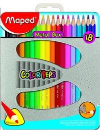 Цветные карандаши color peps, трехгранные, 18 цветов, в металлической коробке, Maped