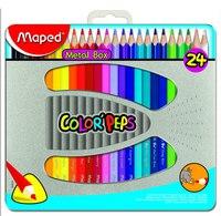 Цветные карандаши color peps, трехгранные, 24 цвета, в металлической коробке, Maped