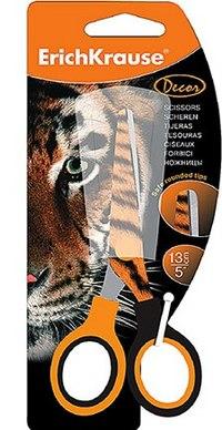 """Ножницы с печатью на лезвии """"тигр"""", 13 см, ErichKrause"""