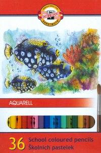 """Карандаши цветные акварельные """"рыбки"""", 36 цветов, Koh-I-Noor"""