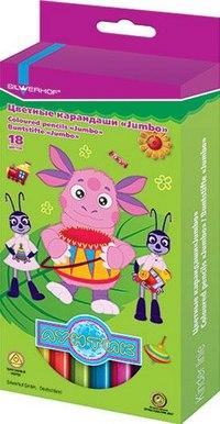 "Карандаши цветные ""jumbo"", ""лунтик"", 18 цветов, Silwerhof"