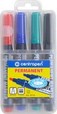 Набор маркеров перманентных устойчивых к высыханию, 4 цвета, Centropen