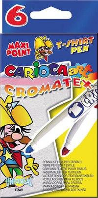 """Фломастеры """"carioca cromatex"""" по ткани, 6 цветов, Universal"""