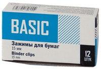 """Зажимы для бумаг """"basic"""", 15 мм, черные , 12 штук, Silwerhof"""
