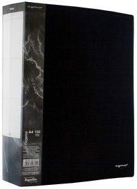 """Папка на 100 файлов с карманом """"agatis"""", 0.9 мм., черная, Silwerhof"""