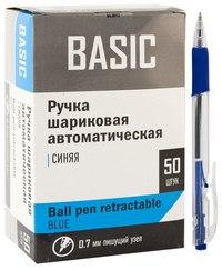 """Ручка шариковая автоматическая """"basic"""" синяя, 0,7мм, с резиновым держателем, трехгранный, прозрачный корпус, Silwerhof"""