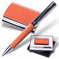 """Набор """"prestige collection"""", оранжевый: ручка, визитница, Galant"""