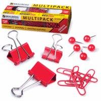 """Набор """"multipack"""", красный: скрепки, зажимы, кнопки-шарики, Brauberg"""