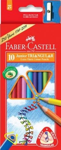 """Карандаши цветные """"junior grip"""" + точилка, 10 цветов, Faber-Castell"""
