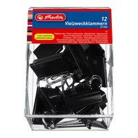 Зажим для бумаг, 41 мм., 12 штук в пластиковом футляре, черные, Herlitz