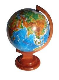 Глобус физический рельефный диаметром 210 мм на деревянной подставке, Глобусный мир