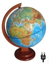 Глобус физический рельефный, с подсветкой, на деревянной подставке, Глобусный мир