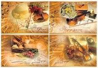 """Тетрадь для нот """"букет и скрипка"""", 24 листа, ассорти, Би Джи"""
