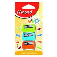 """Точилка пластиковая """"vivo"""", 1 отверстие, без контейнера, 3 штуки, Maped"""