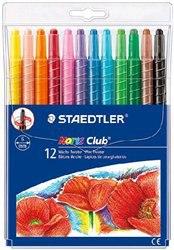 Набор восковых мелков в пластиковом корпусе, выкручивающиеся, 12 мелков, Staedtler