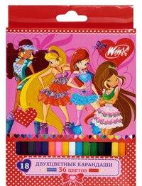 Карандаши двухцветные (18 штук), Winx