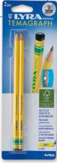 """Набор чернографитных карандашей """"temagraph"""", 2 штуки, точилка, LYRA"""
