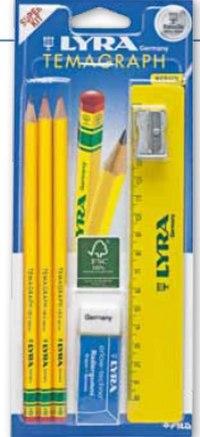 """Набор чернографитных карандашей """"temagraph"""" , 3 штуки, точилка, ластик, линейка, LYRA"""