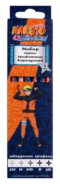 Набор чернографитных карандашей, 6 штук, Naruto