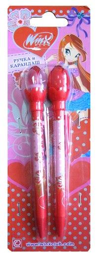 """Набор """"цветы"""": ручка шариковая автоматическая + механический карандаш, Winx"""