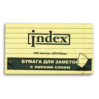 Бумага для заметок с липким слоем, желтая в линейку, 100 листов, Index (канцтовары)