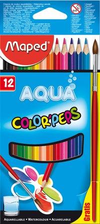 """Карандаши цветные акварельные """"color peps aqua"""", 12 цветов + кисть, Maped"""