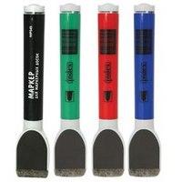Набор маркеров для доски, с магнитом и губкой, 4 цвета, Index (канцтовары)