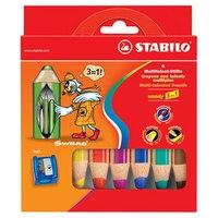 "Набор супертолстых цветных карандашей ""woody"", 6 штук+точилка, STABILO"