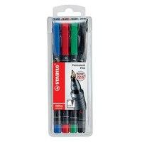 Набор маркерных перманентных ручек, 0,7 мм, 4 цвета, STABILO