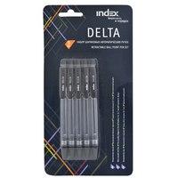 """Ручка автоматическая шариковая """"delta"""", прозрачный корпус, 0,7 мм, черная, 5 штук, Index (канцтовары)"""