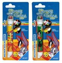 Мелки восковые в корпусе в виде ручки, 4 цвета, Looney tunes