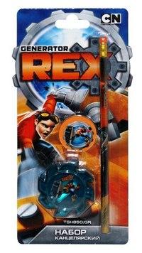 Набор: точилка, карандаш, ластик, Generator Rex