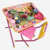 """Набор """""""" (стол детский и стул), рост 3, складной, ящик, розовый каркас, рисунок - чебурашка, Дэми"""