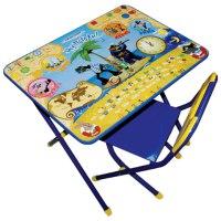 """Набор """""""" (стол детский и стул), рост 3, складной, ящик, синий каркас, столешница - """"ну, погоди"""", Дэми"""