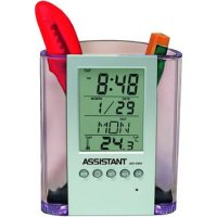 Подставка для ручек с часами, 11,8х10,2х5,2 см, Assistant