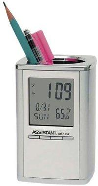 Подставка для ручек с часами, 11х7,2х7,2 см, Assistant
