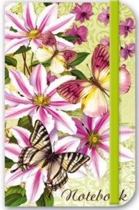 Записная книжка. notebook. цветы и бабочки (на резинке), Феникс +
