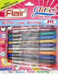 """Набор гелевых ручек """" glitter"""", 10 штук, Flair"""