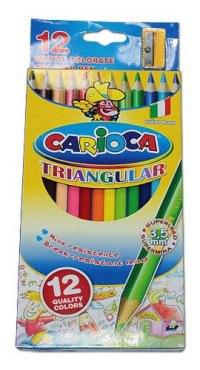 """Карандаши цветные """"carioca traingular"""", 12 цветов + точилка, Universal"""